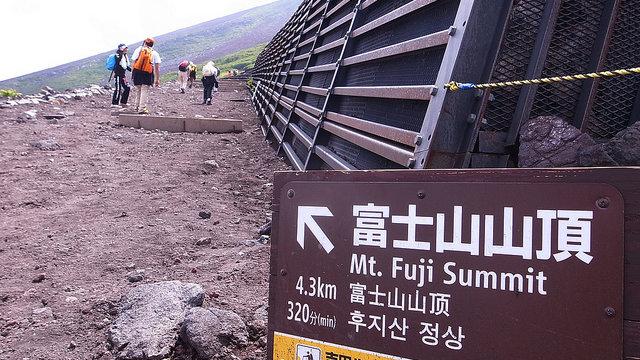 Mit dem Helm auf den Fuji
