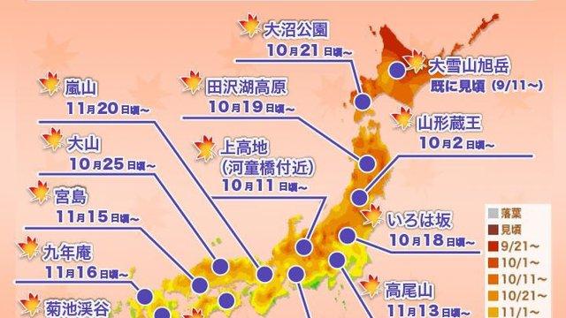 Japans Herbstlaub-Karten