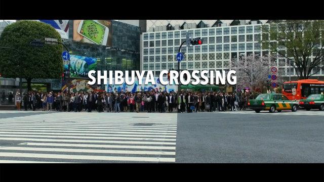 Der Shibuya Crossing in Zeitlupe