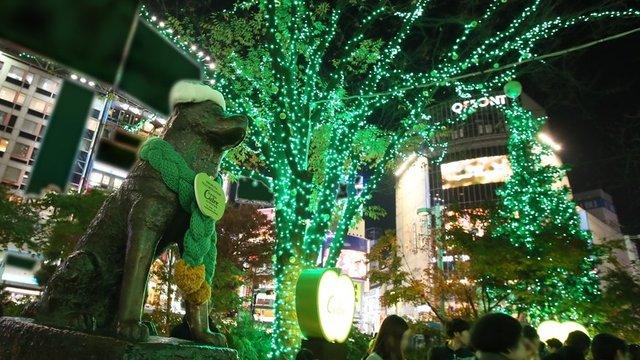 Hachiko in Weihnachtsstimmung