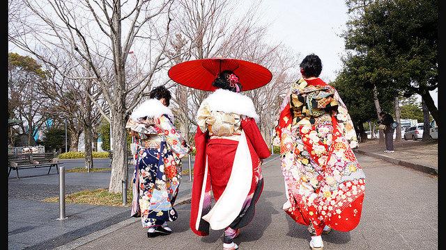 Ein Land feiert im Kimono