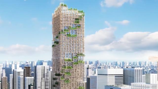 Ein hölzerner Wolkenkratzer für Tokio