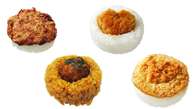 Okonomiyaki, Takoyaki und Katsudon als Reisbälle