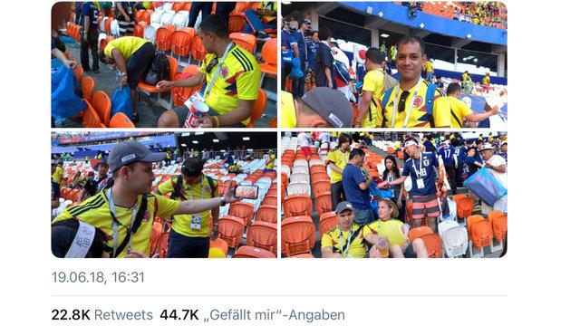 Japan und Kolumbien: Gemeinsam sauber machen nach dem WM-Spiel