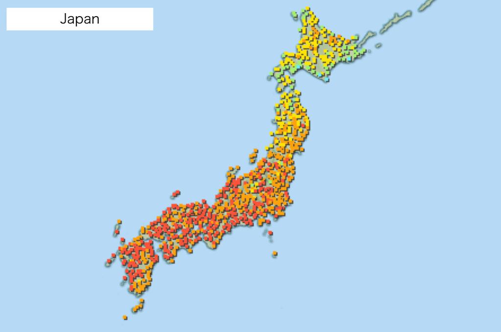 Japan Karte.Die Hitzestress Karte Für Japan Asienspiegel