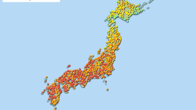 Die Hitzestress-Karte für Japan