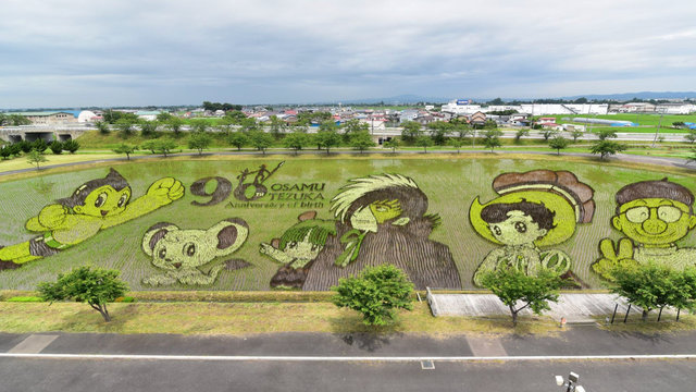 Ein Reisfeld-Gemälde für den Manga-Gott