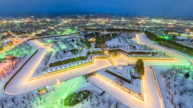 Der riesige Stern im Schnee von Hakodate