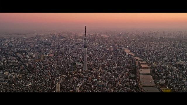 Das nächtliche Tokio aus der Vogelperspektive