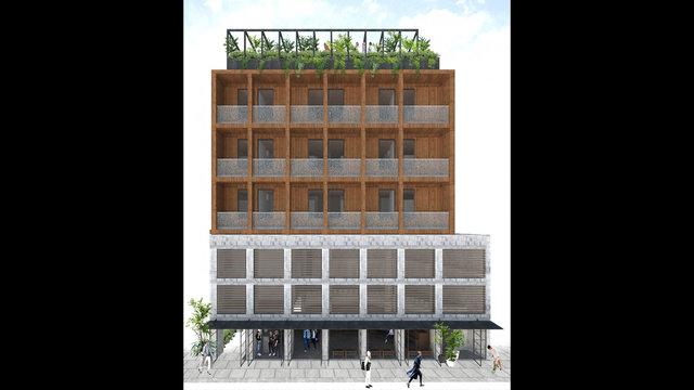 Das 5-stöckige Hotel aus Holz