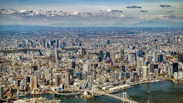 Ein Landeanflug direkt über Tokio
