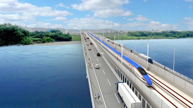 Die neue Shinkansen-Brücke
