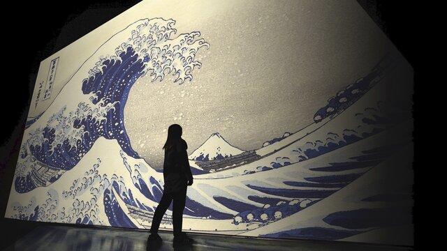 Die grosse Welle auf einer 45-Meter-Leinwand
