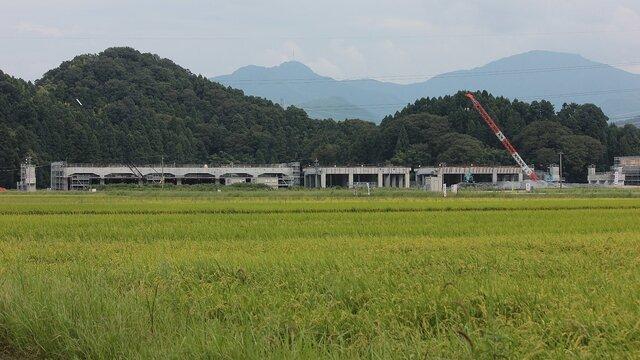 Ein Shinkansen-Bahnhof im Reisfeld